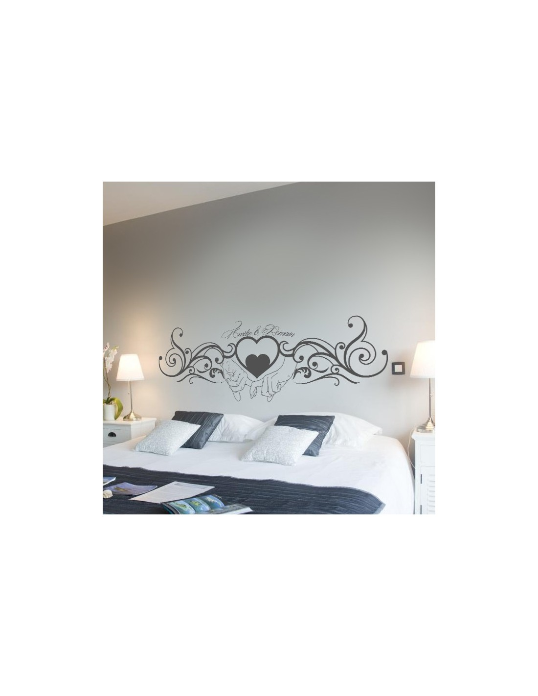 stickers muraux t te de lit sticker pr nom personnalis couple amour. Black Bedroom Furniture Sets. Home Design Ideas