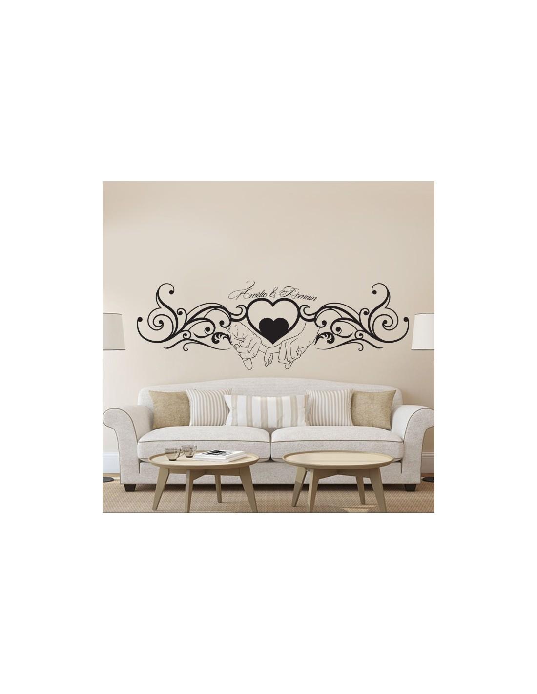 stickers muraux t te de lit sticker pr nom personnalis couple amour. Black Bedroom Furniture Sets. Home Design Ideas