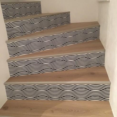 Stickers contremarches d'escaliers lignes vague