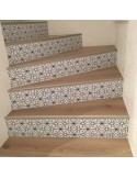 Stickers contremarches d'escaliers motif rosace