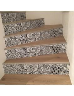 Stickers contremarches d'escaliers déco floral design