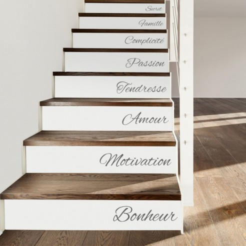 kit de 15 stickers textes personnaliser pour contremarche d 39 escalier. Black Bedroom Furniture Sets. Home Design Ideas
