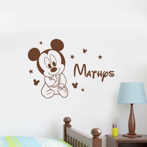 Sticker bébé Mickey avec prénom