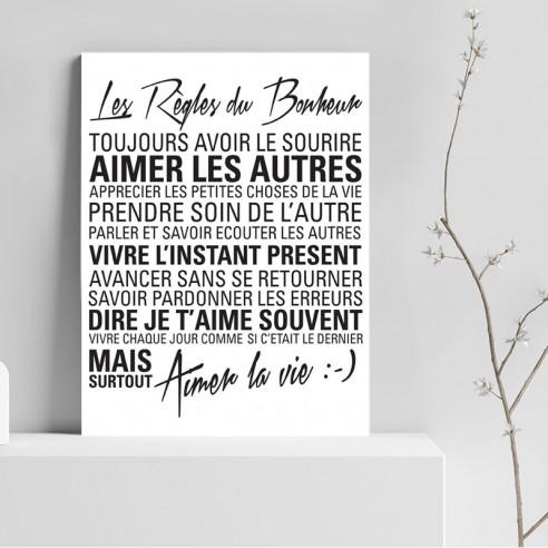 Tableau Des Regles De Vie A La Maison les règles du bonheur - tableau citation pour décoration d'intérieur