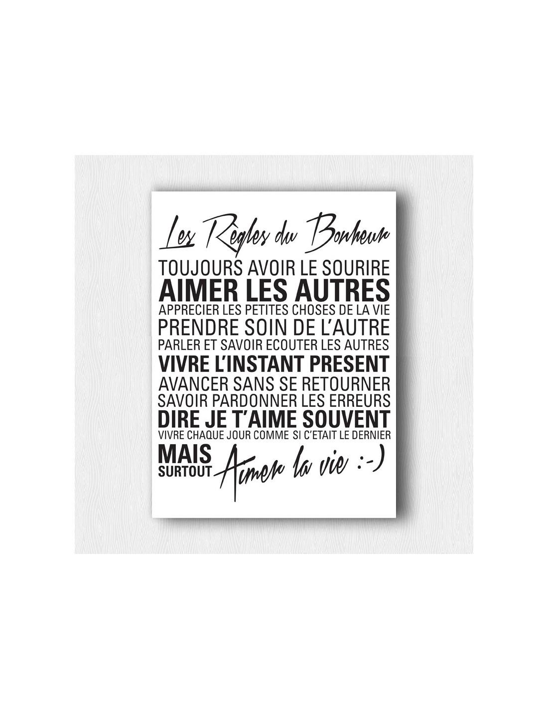 Les r gles du bonheur tableau citation pour d coration d 39 int rieur - Cadre regle de la maison ...