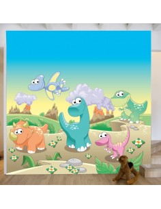 Sticker fresque murale dinosaures