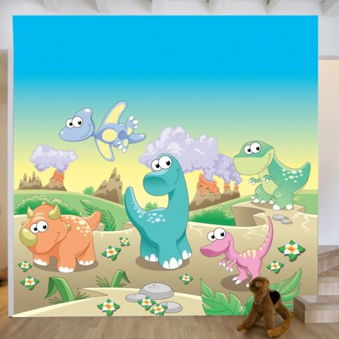 Sticker fresque murale dinosaures