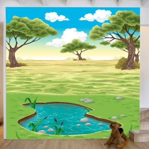 Deco Paysage sticker géant fresque murale paysage nature, stickers xxl déco enfant