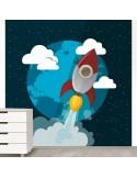 Sticker décor espace fusée