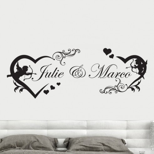 Sticker tête de lit avec prénoms