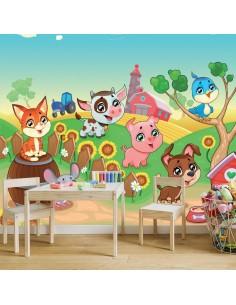 Fresque décor ferme et animaux