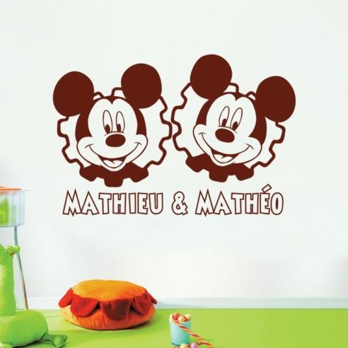 Sticker jumeaux garçons avec prénoms