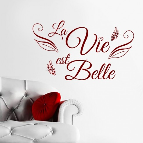 sticker la vie est belle stickers muraux texte et. Black Bedroom Furniture Sets. Home Design Ideas