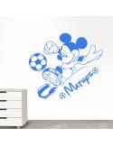 Sticker Mickey football avec prénom