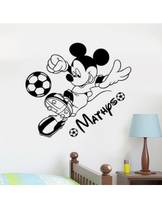 Sticker Mickey football avec prénom