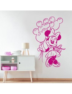Sticker Minnie avec ballons tête de Mickey