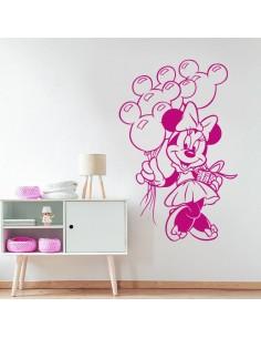 Sticker Minnie avec ballons tête de Mickey