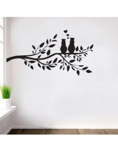 Sticker branche d'arbre avec chats