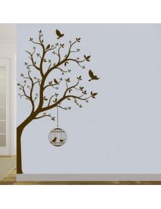 Sticker arbre avec cage à oiseaux