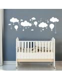 Sticker décor nuages et montgolfières