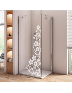 Sticker floral paroi de douche