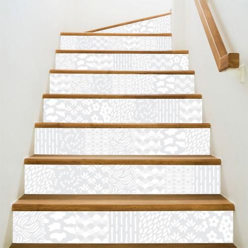 Stickers contremarches d 39 escaliers carreaux de ciment - Escalier carreaux de ciment ...