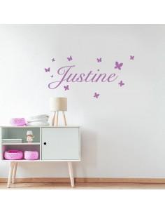 Sticker prénom personnalisé avec papillons