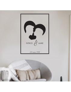 Sticker silhouette amoureux encadré