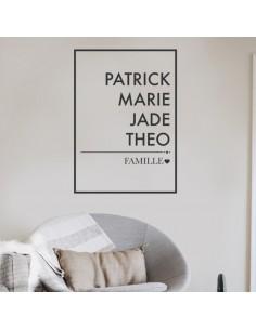 Sticker avec prénom membres de la famille
