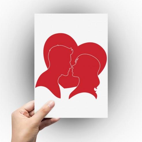 Sticker silhouette couple dans coeur