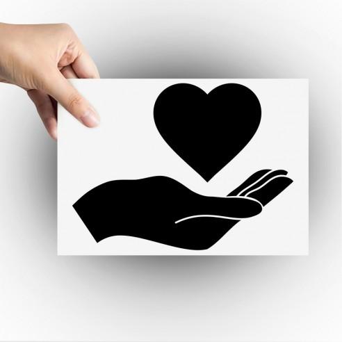 Sticker coeur dans la main
