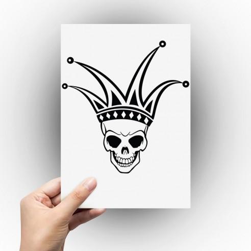 Sticker tête de mort joker