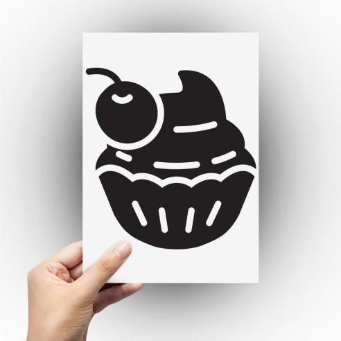Sticker cupcake cerise