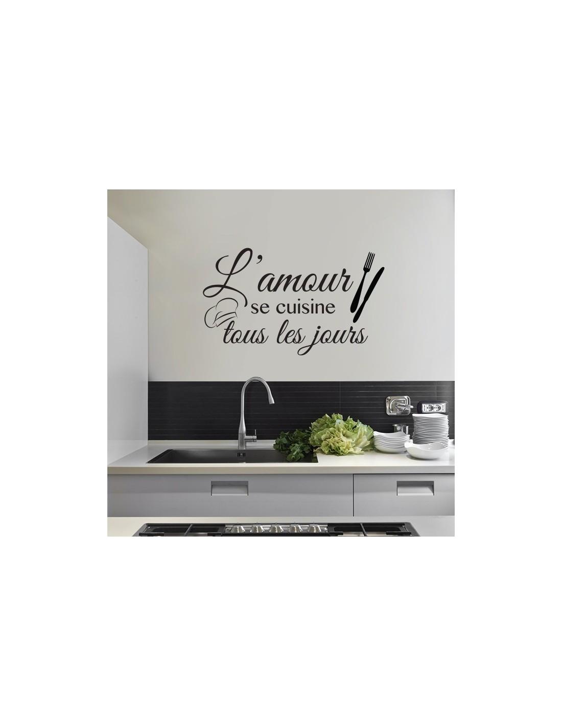 tous les jours ref4cuisine Stickers Citation Cuisine Amour Autocollant muraux