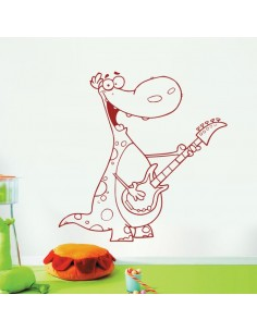 Sticker dinosaure guitare