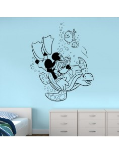 Sticker Mickey plongeur et tortue