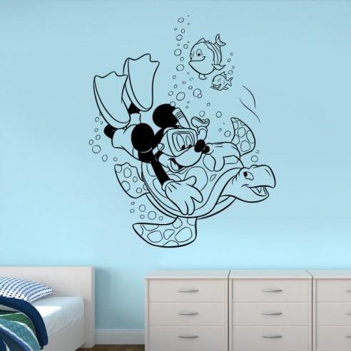 Sticker Mickey plongeur et tortue