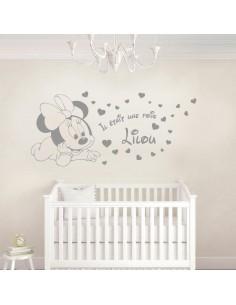 Sticker Minnie bébé avec prénom
