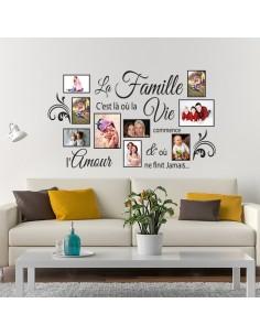 Sticker photos citation la famille c'est là où la vie commence
