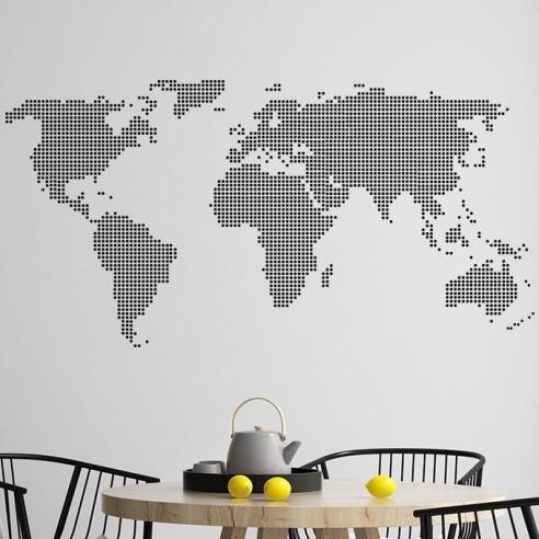 Sticker carte du monde design