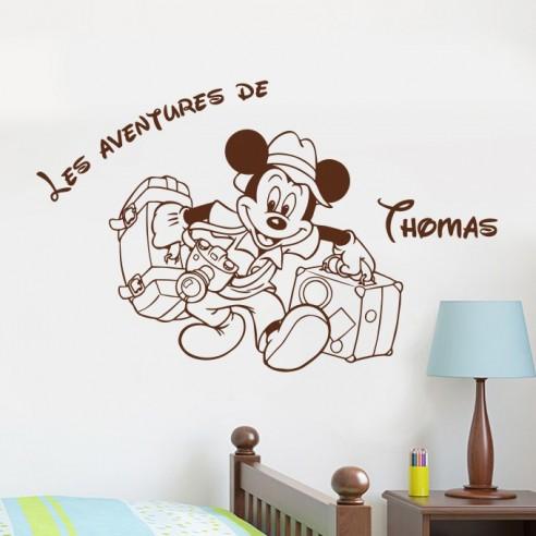 Sticker Mickey aventure avec prénom