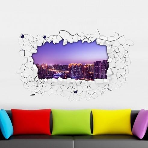 Sticker 3D ville lumière
