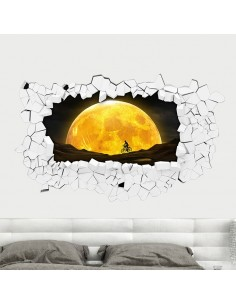 Sticker 3D couché de lune
