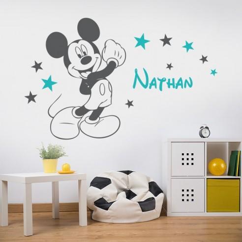 Sticker mural Mickey avec prénom