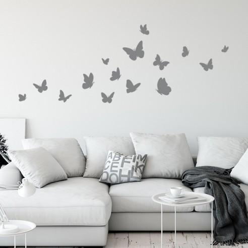 Sticker mural envolée de papillons