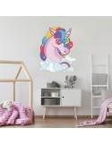 Sticker licorne arc-en-ciel
