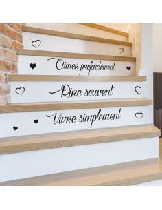 Sticker citation escalier vivre simplement