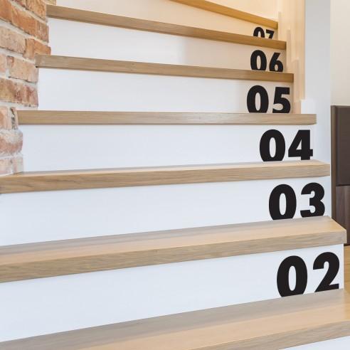 Stickers numéro pour escalier