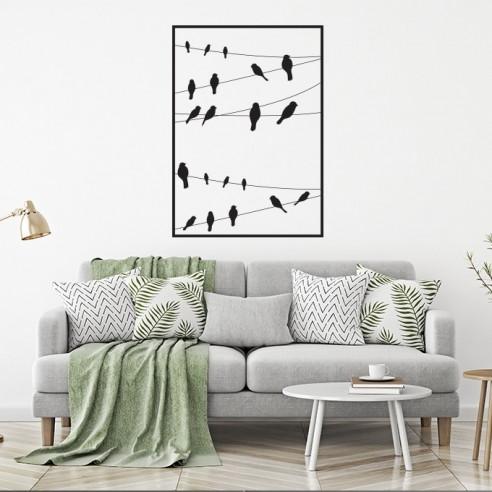 Sticker corde oiseaux encadré