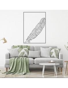Sticker mural plume encadrée